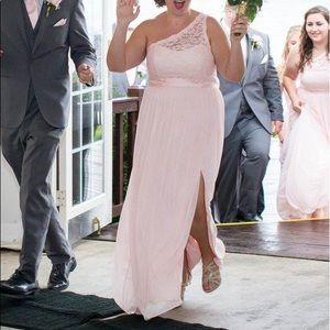 David's Bridal One Shoulder Lace Bridesmaid Dress